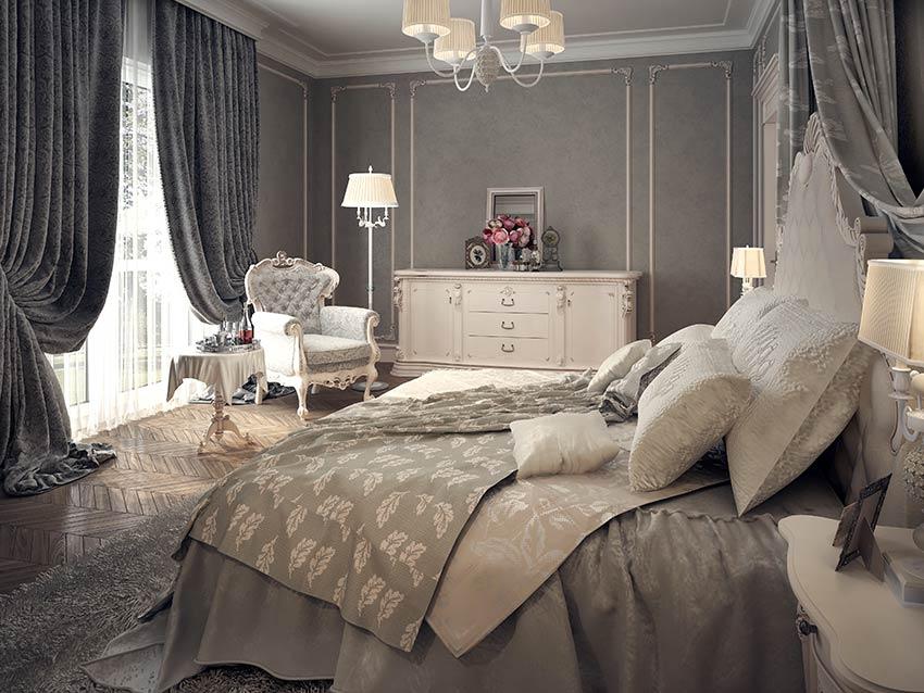 Stanza da letto stile shabby chic con grande tende magnifiche color grigio.