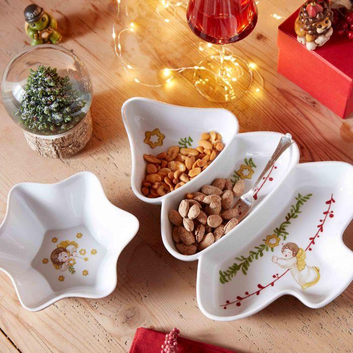 Antipastiera della Thun in ceramica a forma di albero di Natale.