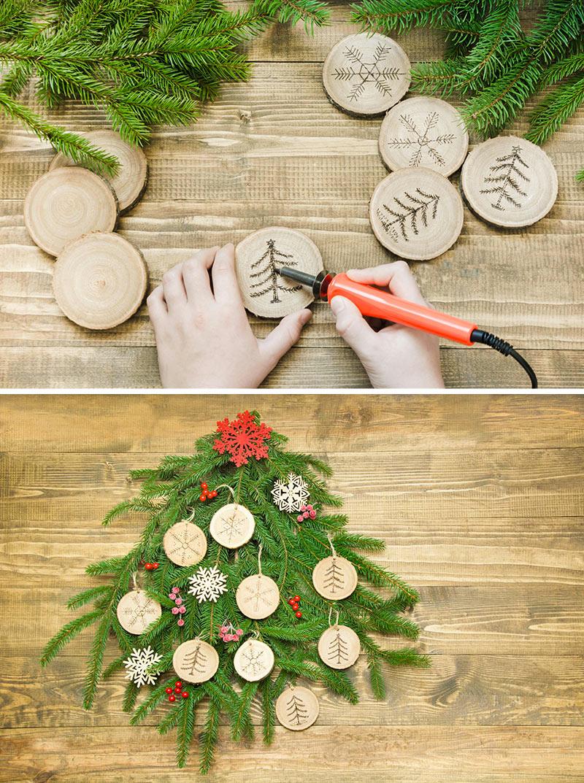 Addobbi natalizi con rondelle di legno.