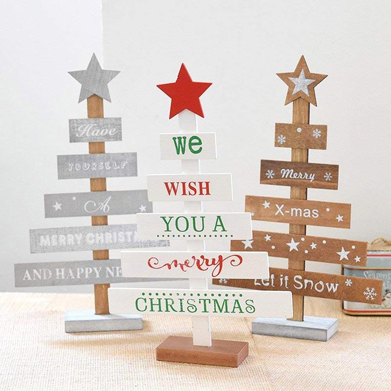 Alberelli di Natale in legno, bella decorazione natalizia da tavola e idea regalo.