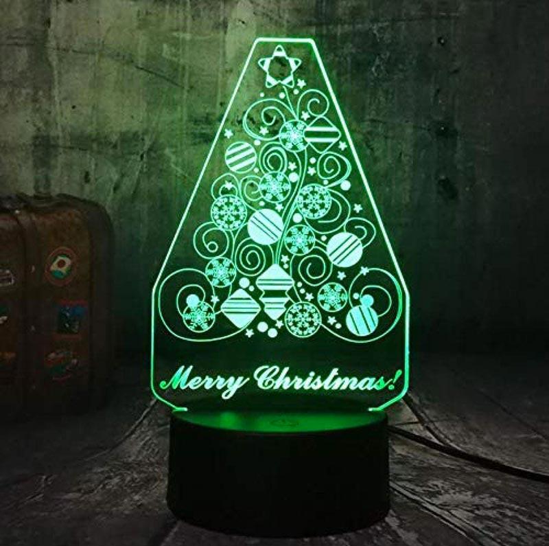 Lampada design a luci LED a forma di albero di natale stilizzato.