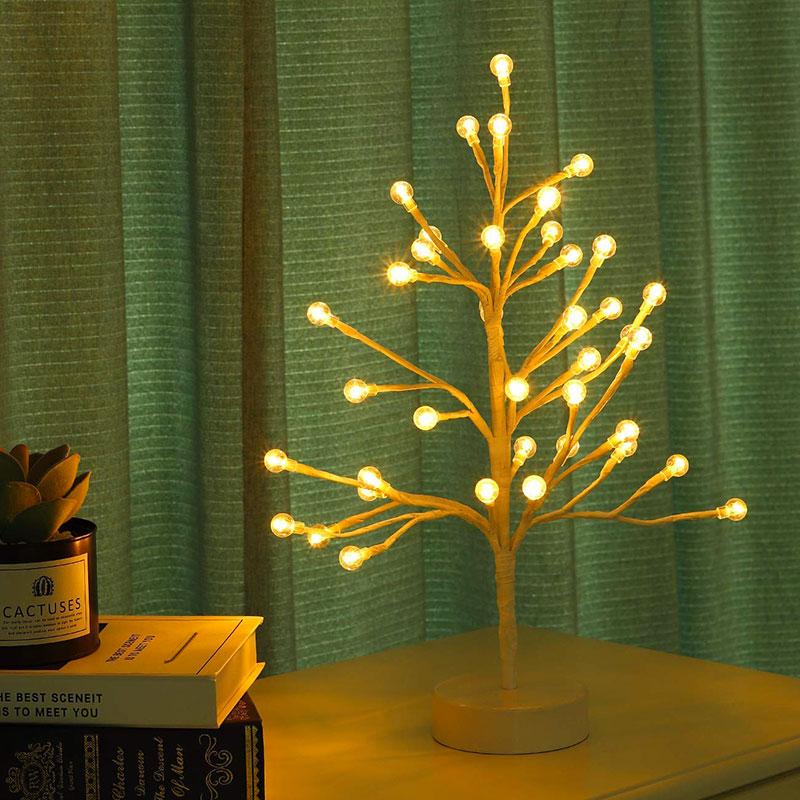 Alberello luminoso con LED a forma di germogli di ciliegio.