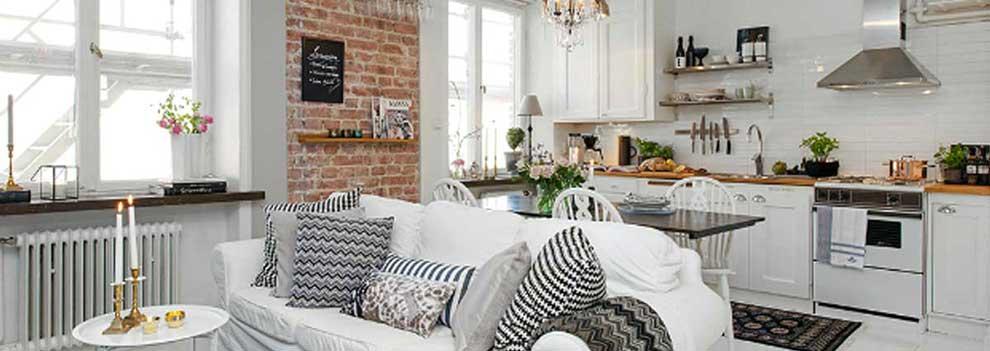 Idee per arredare una cucina a vista, interni design.