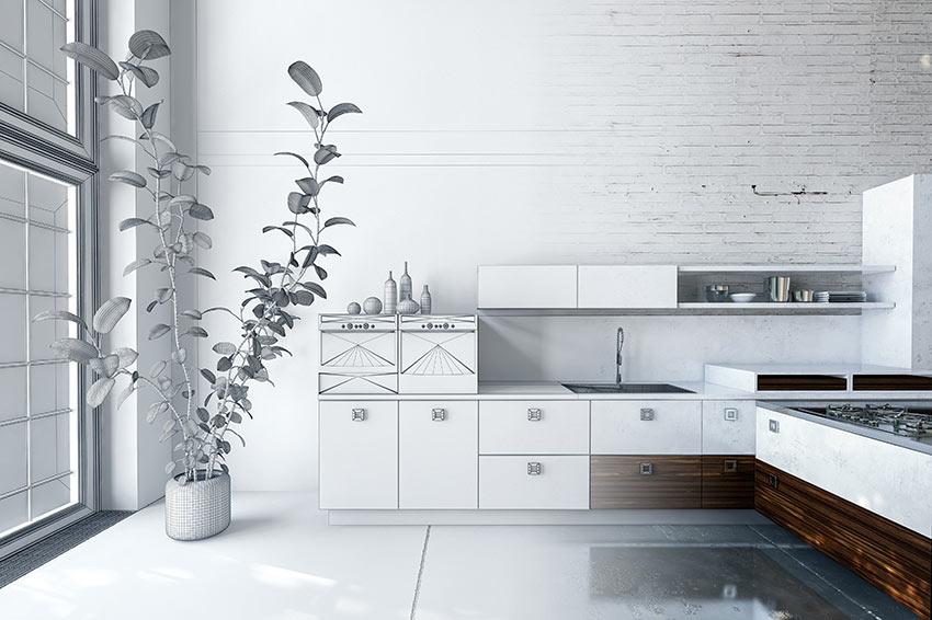 Cucina ad angolo moderna bianca e legno scuro.