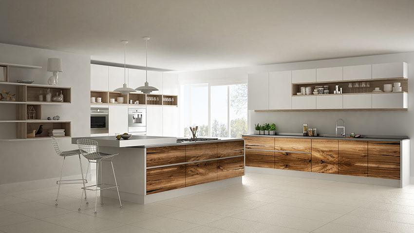 Grandissima cucina bianca e legno con penisola centrale, stile moderno.