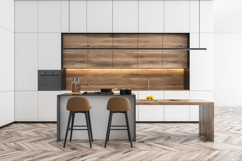 Cucine bianche e legno contemporanee, stile e design.