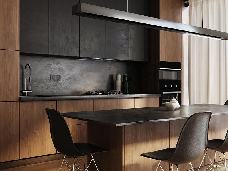 Elegante cucina moderna di piccola dimensione nera e legno.