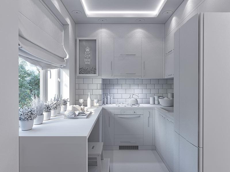 Cucina bellissima ad U total white.