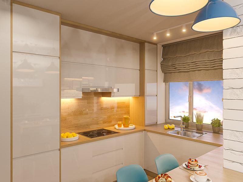 Cucina moderna piccola bianco lucido con illuminazione LED.