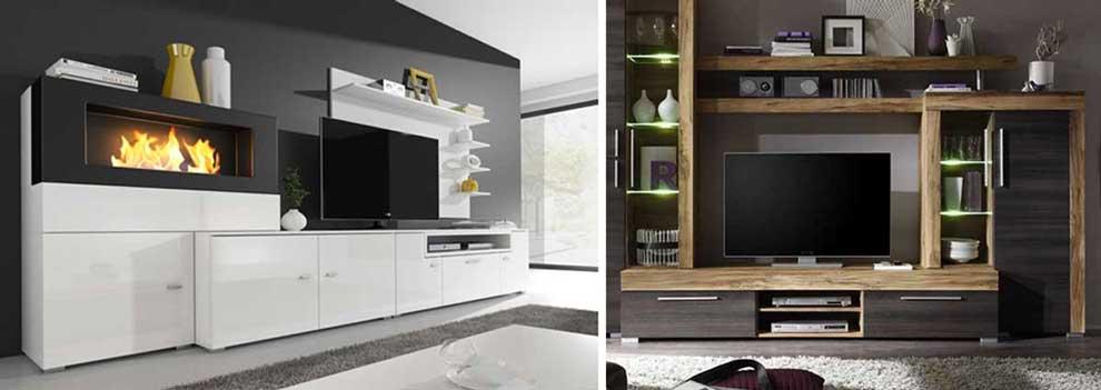 Arredamento moderno, idee per soggiorno con parete attrezzata.