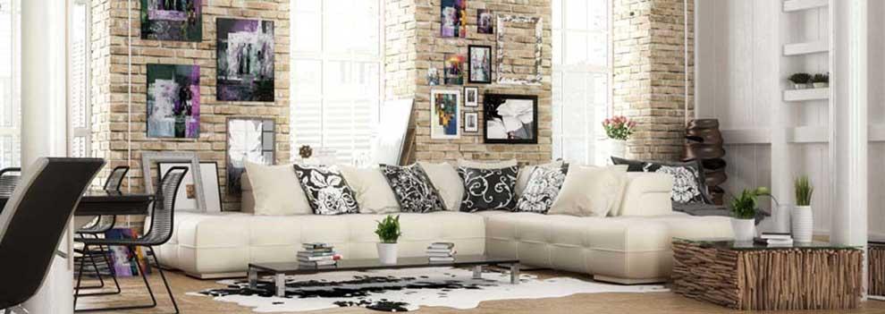 Stile di arredamento vintage in soggiorno.