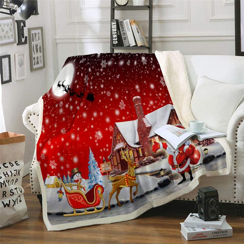 Decorazioni natalizie per divano, la coperta calda con disegni natalizi.