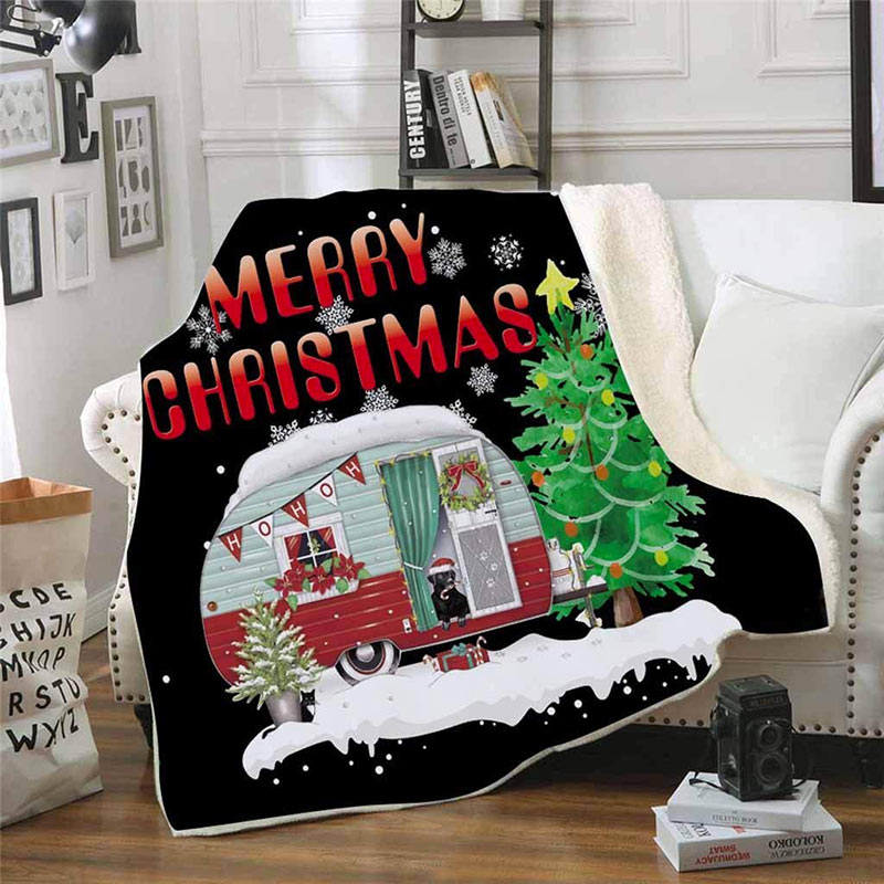 Coperta natalizia merrY Christmas per il divano.