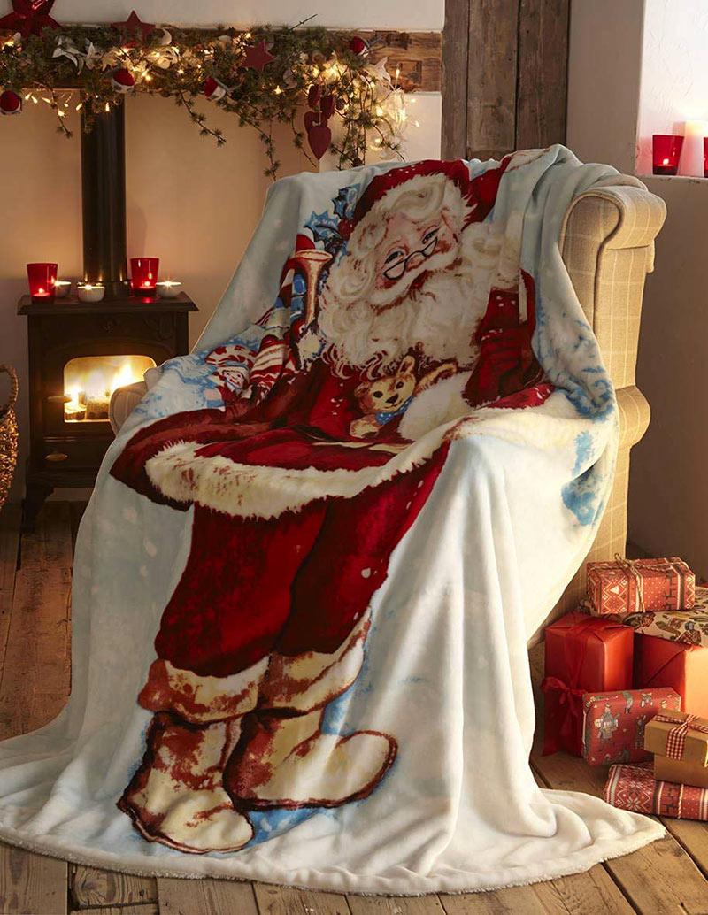 Coperta natalizia con babbo Natale per il divano.