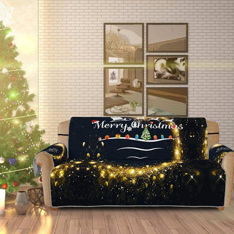 Copridivano natalizio nero e oro con scritta Merry Christmas .