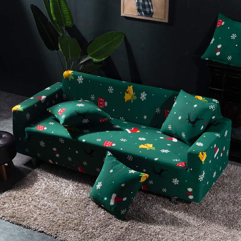 Copri divano natalizio verde.