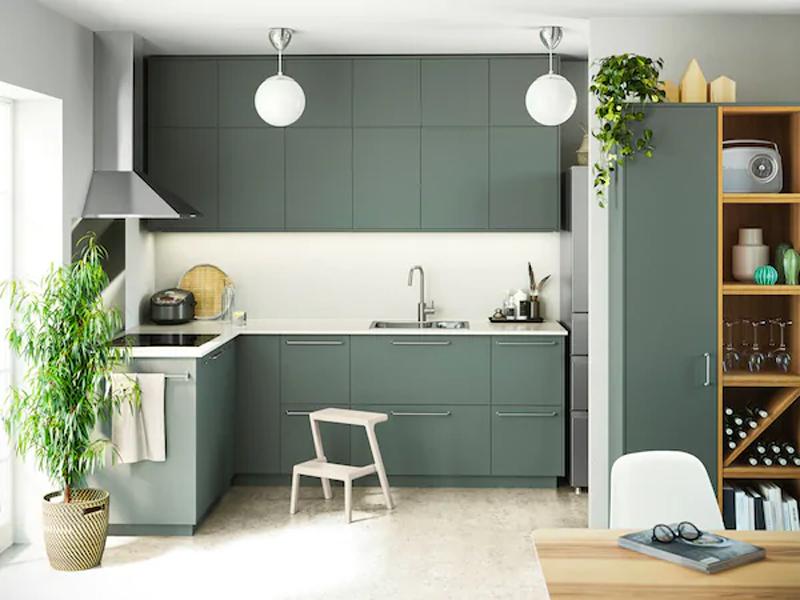 La cucina IKEA BODARP grigio verde.