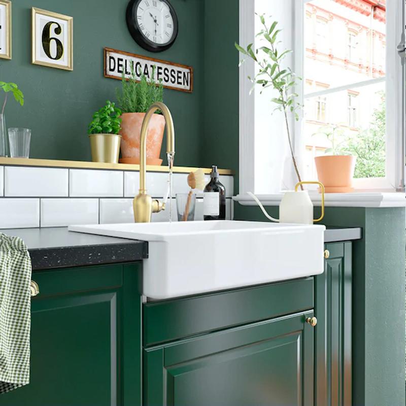 La cucina BODBYN verde di IKEA.