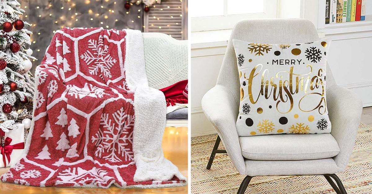 Decorazioni natalizie per divano, cuscini, coperte, copridivano.
