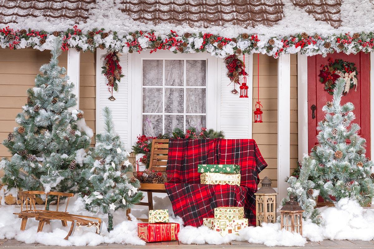 Alberi di Natale decorati in giardino.