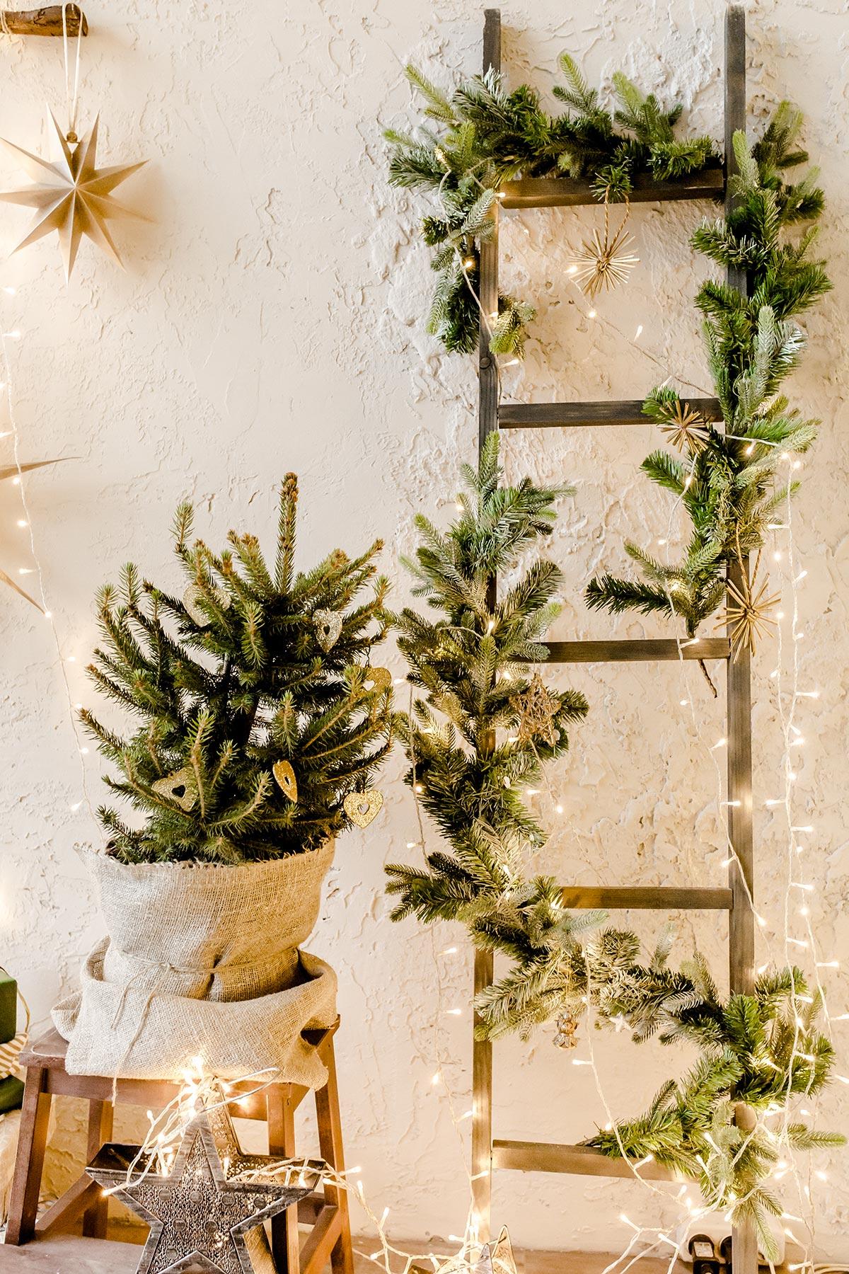 Scala decorata con rami di pino e lucette.