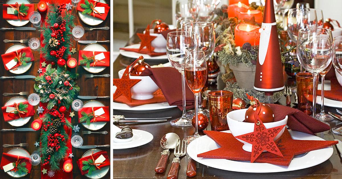 Come decorare la tavola di Natale in bianco e rosso.