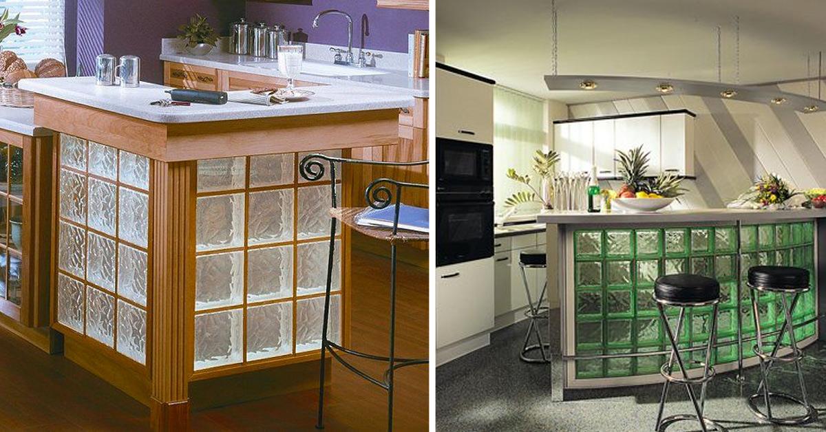 Idee isola cucina con vetrocemento.