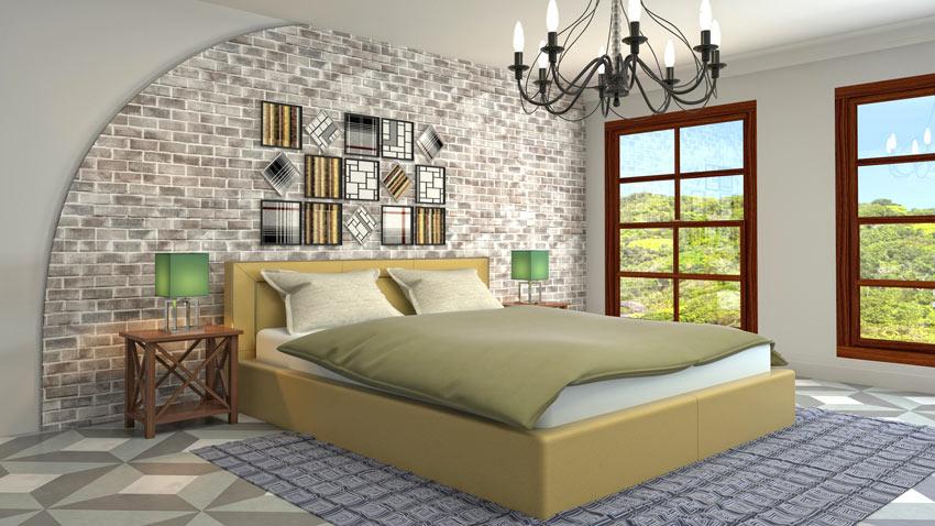 Camera da letto stile retrò con pareti di mattoni a vista.