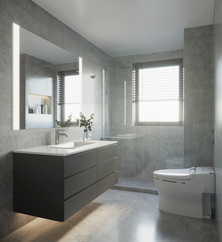 Piccolo bagno color grigio con mobile lavabo sospeso nero.