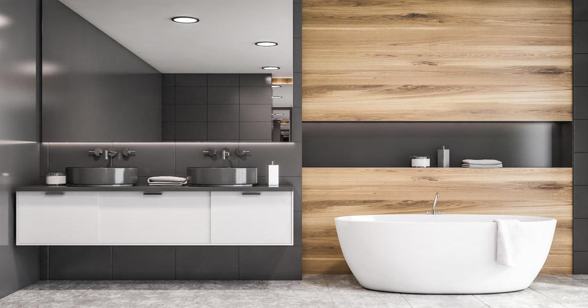 idee per arredare un bagno grigio in stile moderno.