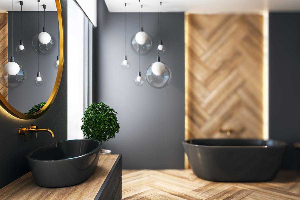 Bianco design nero e legno.