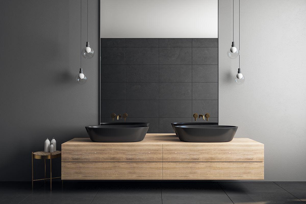 Bagno nero e legno.