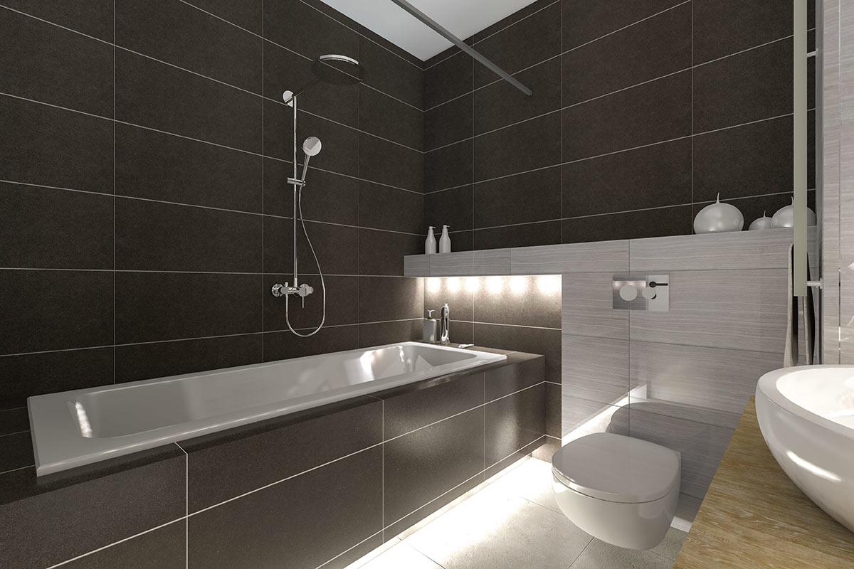 Bagno design nero e grigio.