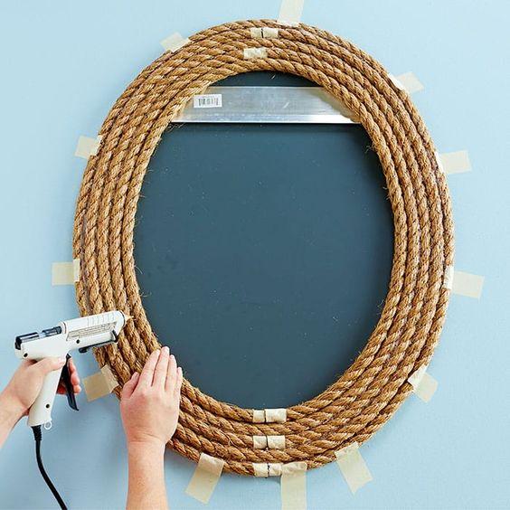 cornice specchio fai da te in corda.