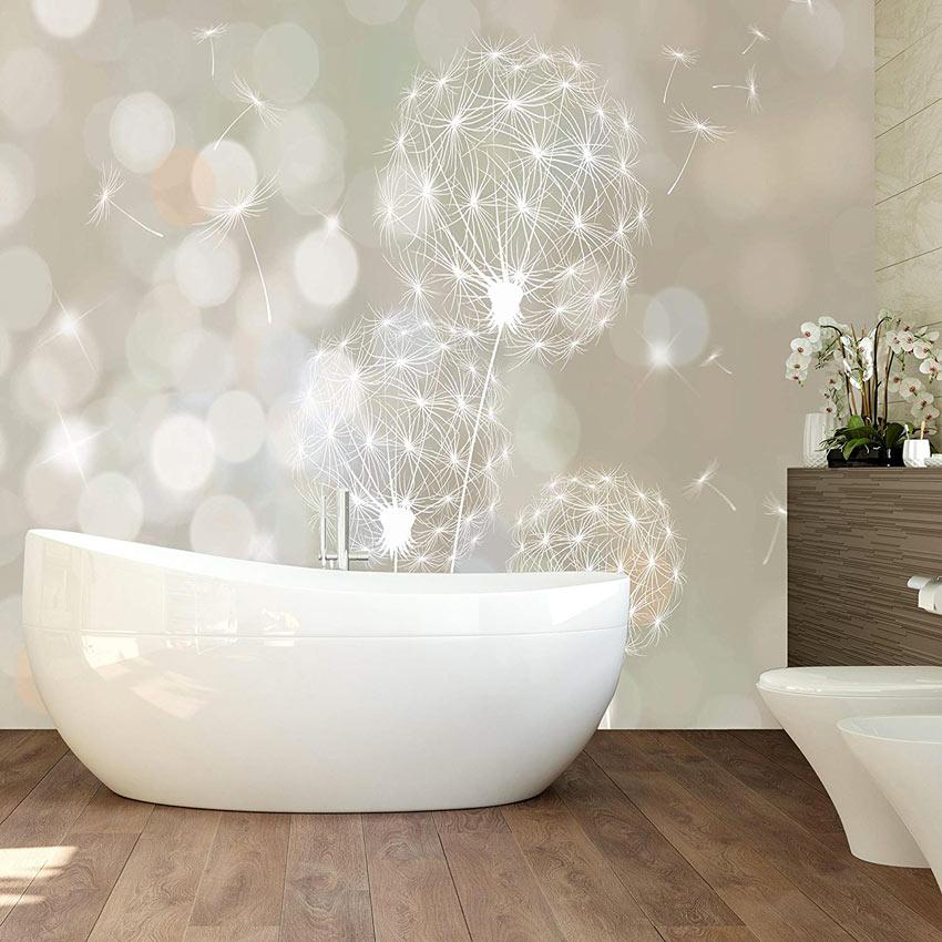 Carta da parati design per il bagno moderno.