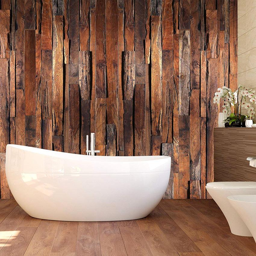 Carta da parati 3d che simula il legno in questo bagno.