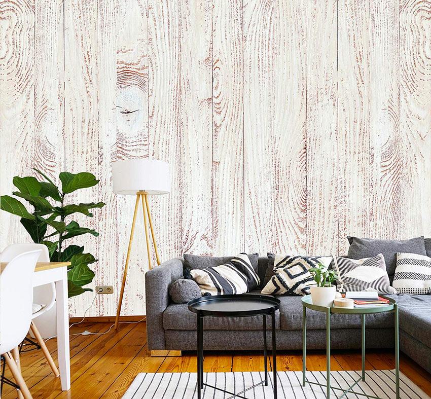 Effetto legno carta da parati adesiva in soggiorno.
