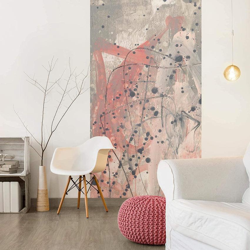 Carta da parati moderna con dipinto grigio e rosa, bellissima in un salotto moderno.