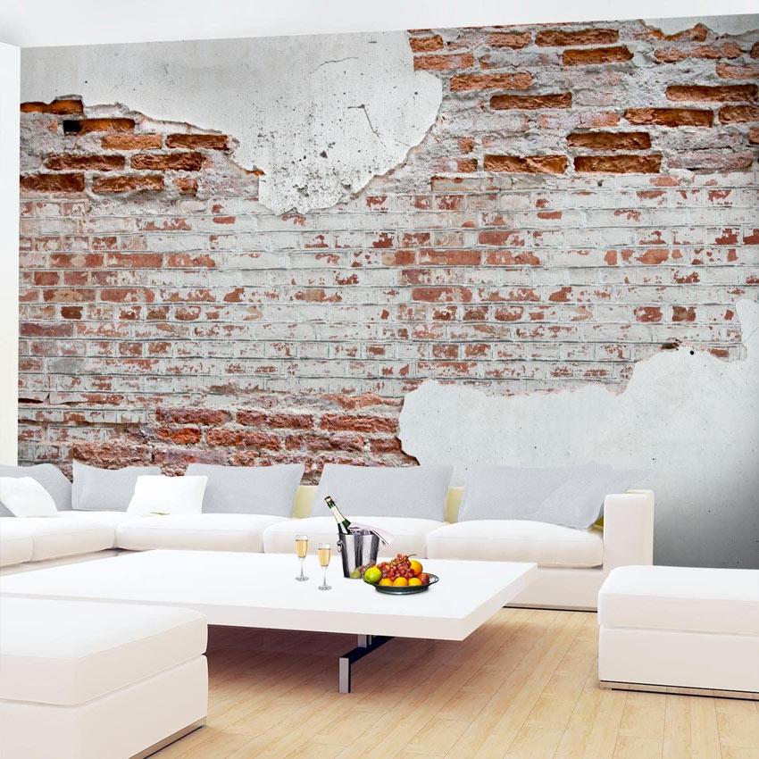 Effetto muro di mattoni scrostato carta da parati moderna, ideale in salotto.