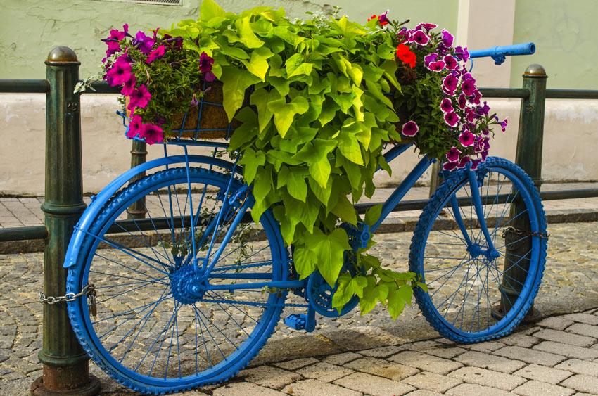 Decorare una vecchia bicicletta per la primavera