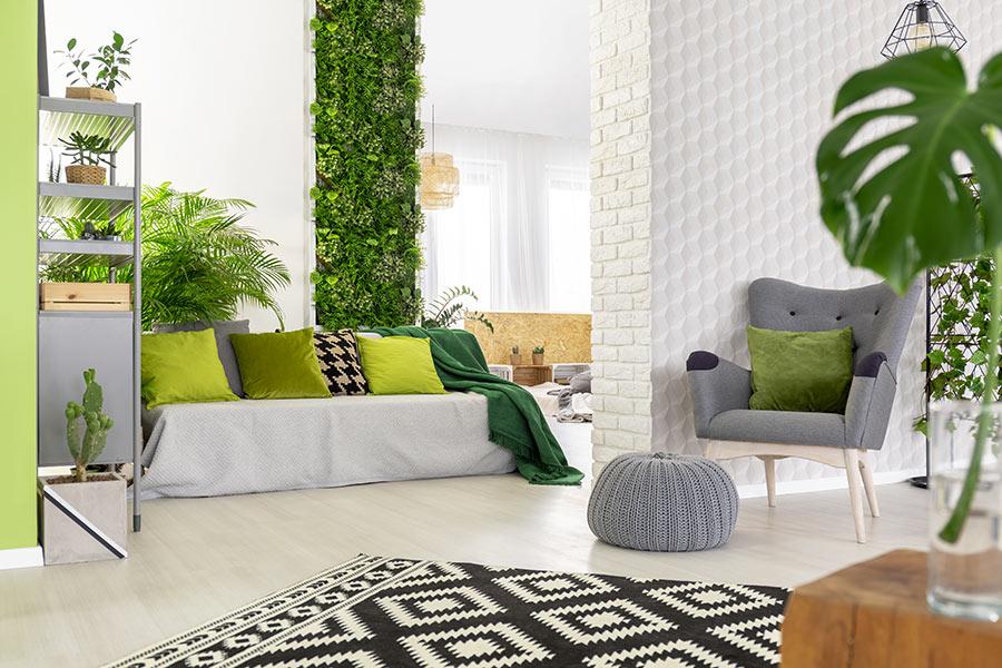 Bella parete verde stretta in questo soggiorno moderno.