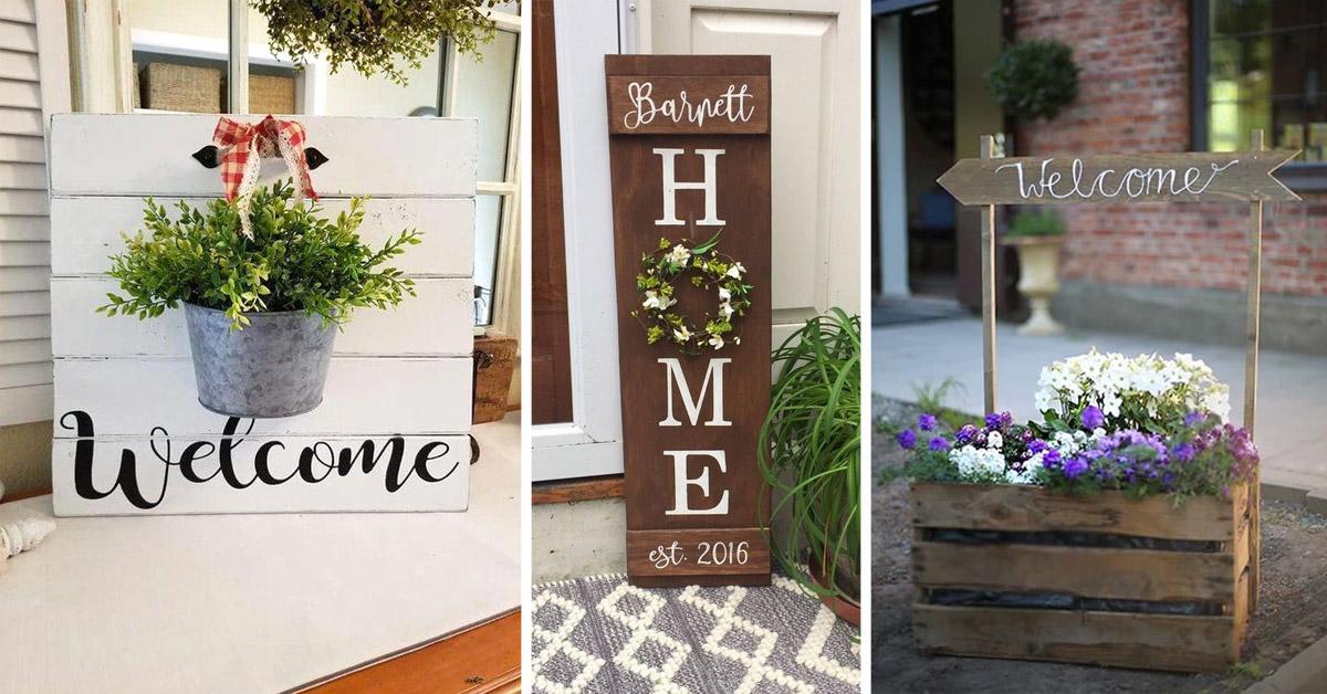insegne decorative con fiori per decorare l'ingresso in primavera