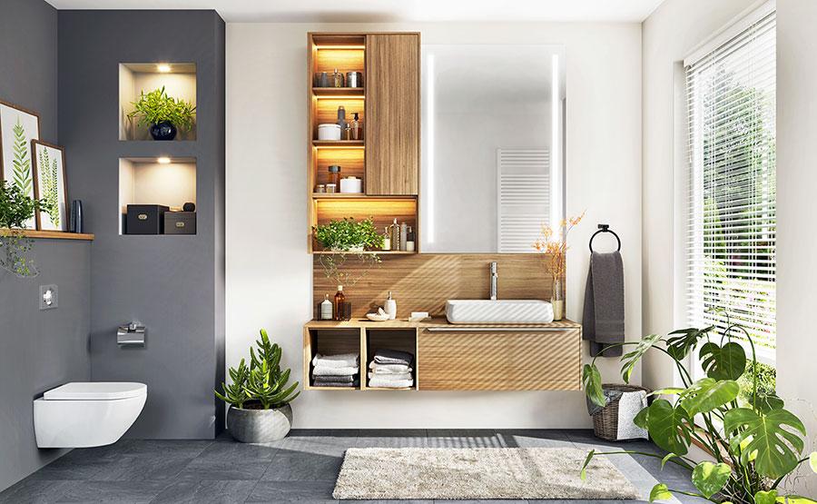 Piccoli incassi in cartongesso in un bagno stile moderno.