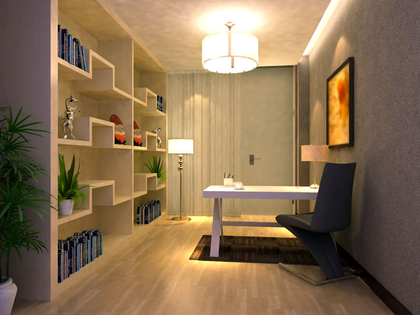 Grande libreria design realizzata in cartongesso in quest'ufficio di casa.