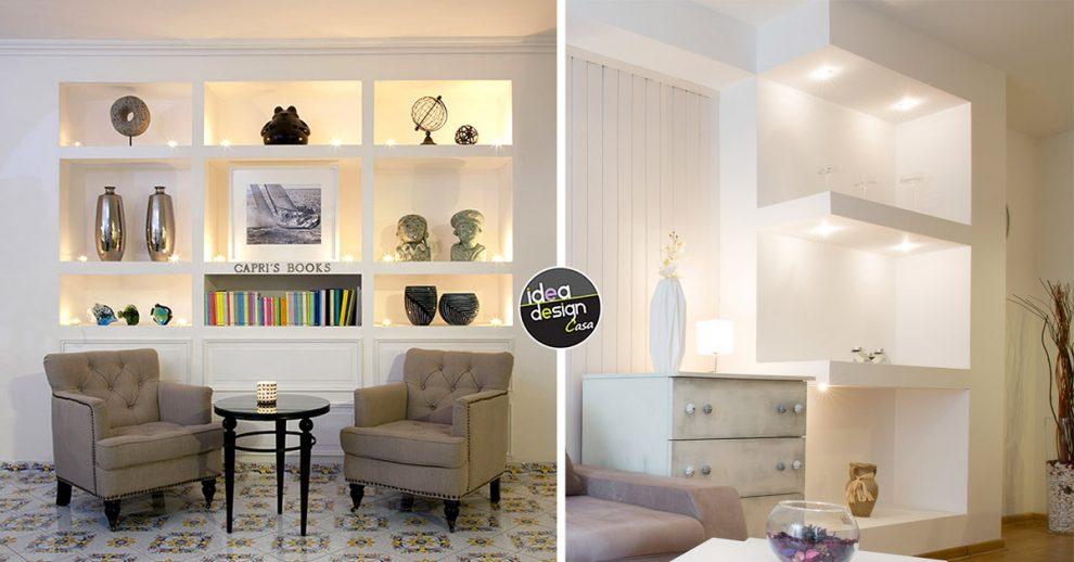 idee di mensole in cartongesso in casa moderna