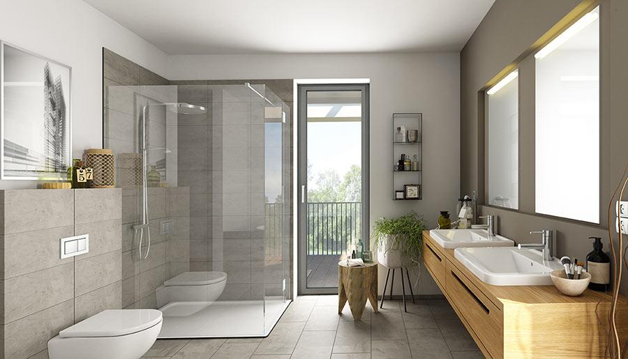 Rifare il bagno con piastrelle grigie e mobili in legno