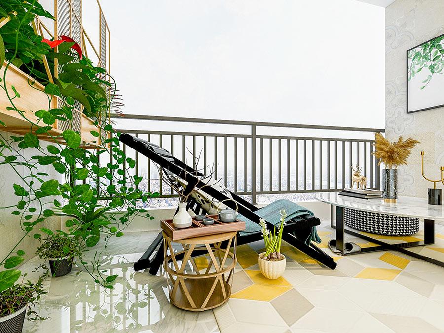 Come arredare il balcone, tavolino, sdraia e piante verdi.