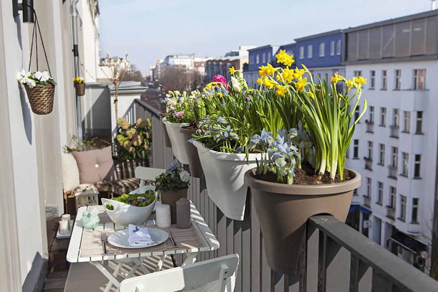 Vasi di fiori per balcone, tavolino stretto con colazione.