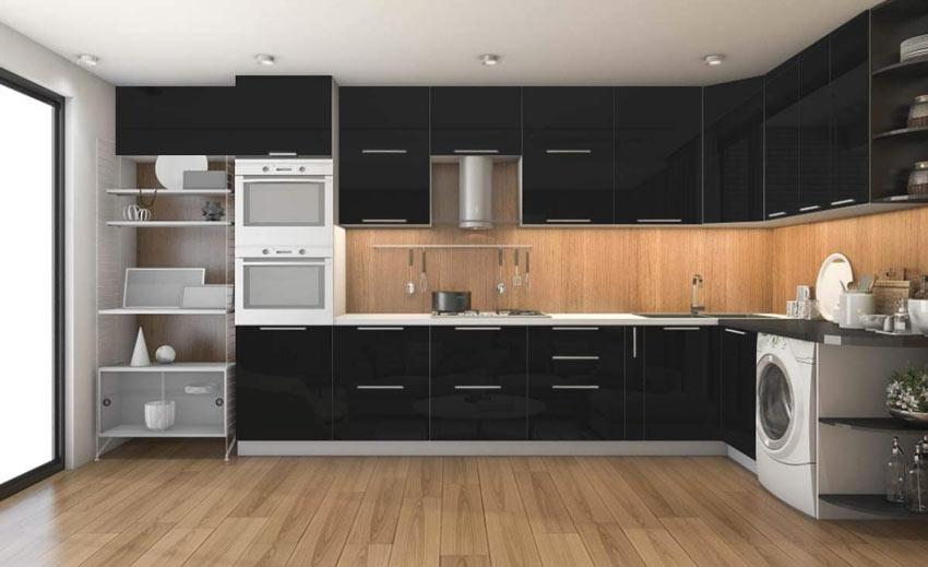 Cucina rinnovata con carta da parati adesiva nera.