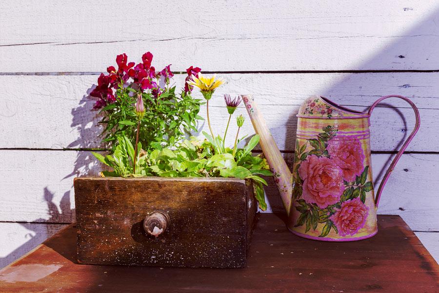 Il cassetto del vecchio mobile diventa una bella fioriera per il giardino.
